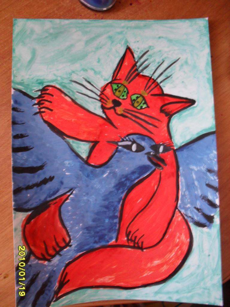 Синяя птица и красный кот!