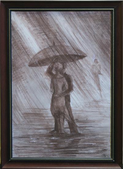Пара, дождь.