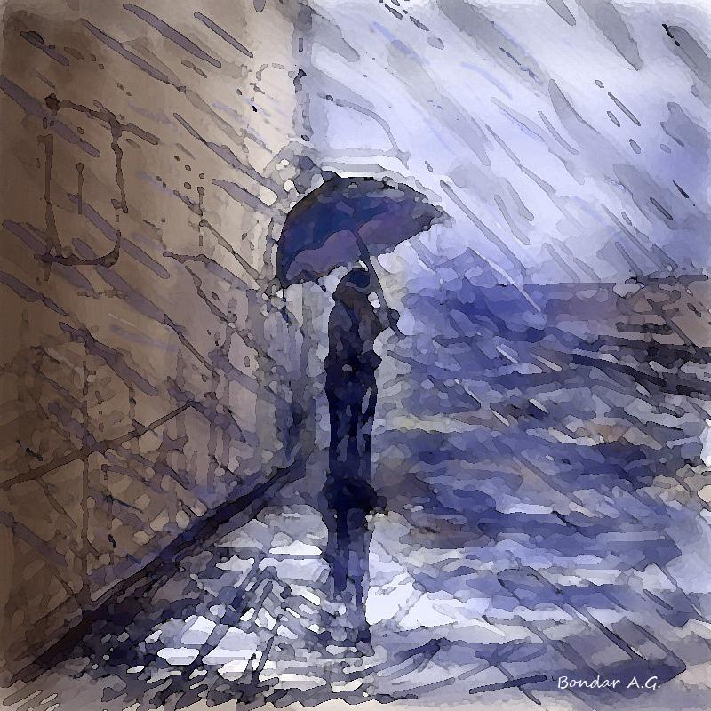 Пара под дождем, графический планшет, Автор - Бондарь Анастасия