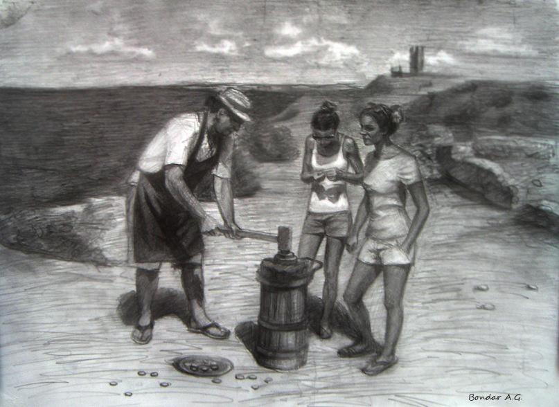 Возвращение в прошлое, рисунок, Автор - Бондарь Анастасия
