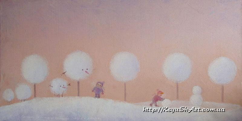 Февраль. Снеговики.